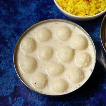 Pala Undrallu: Rice flour dough balls simmered in coconut- and cardamom-flavoured milk.