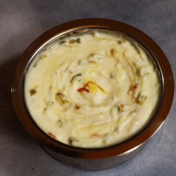 Kesar Pista Shrikhand: Sweetened Greek Yogurt Flavoured with Saffron and Pistachio