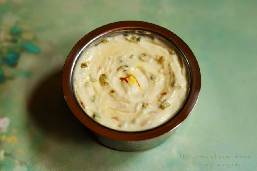 Sweetened Hung Curd (Greek Yogurt) Infused with Saffron and Pistachio