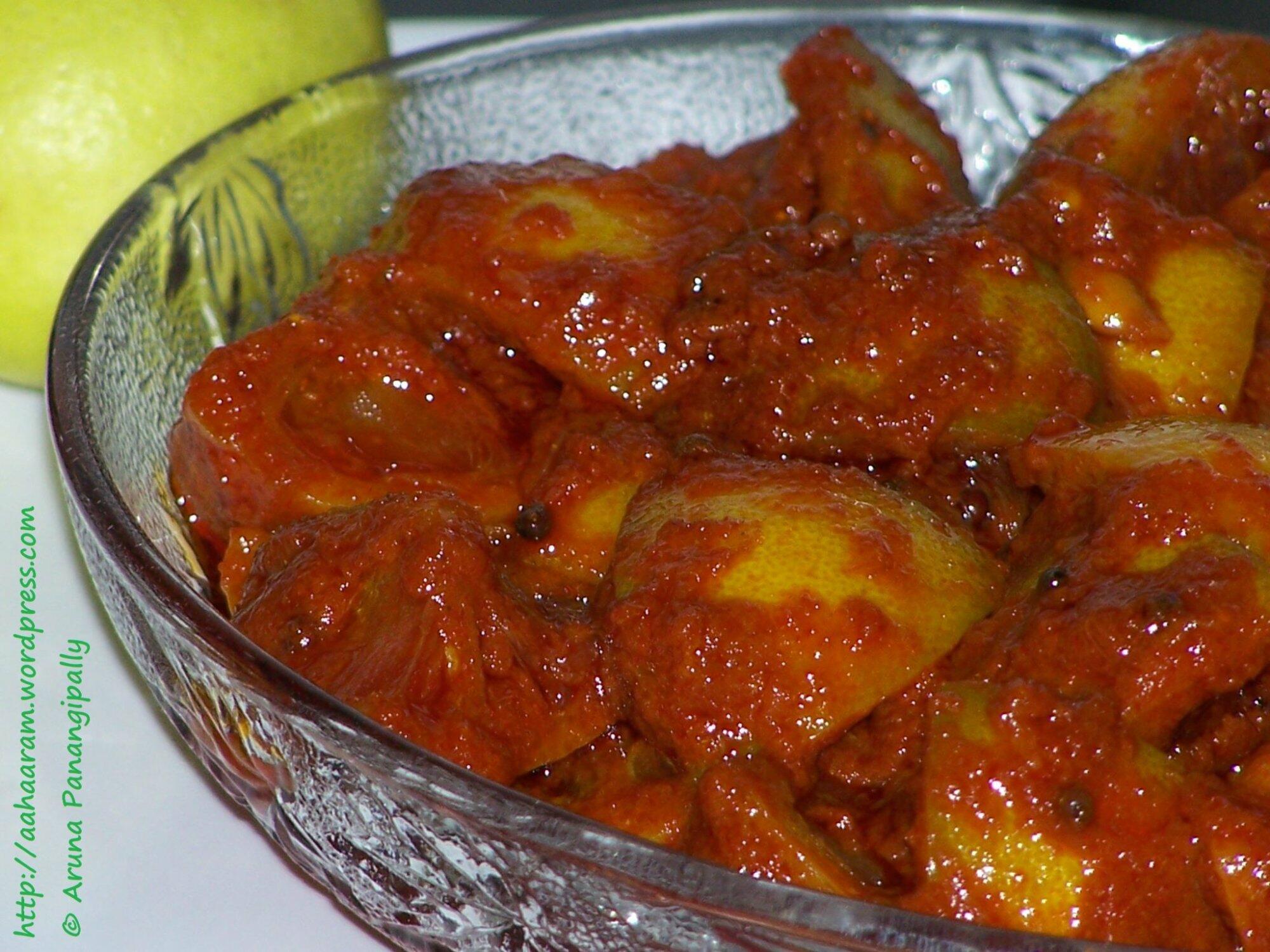 Nimmakaya Uragaya   Andhra Style Lemon Pickle in Oil