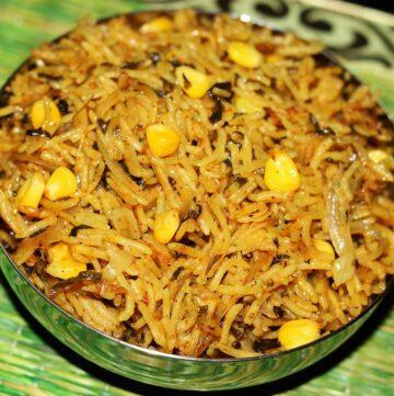 Methi Corn Biryani | Rice with Fresh Fenugreek Leaves and Corn