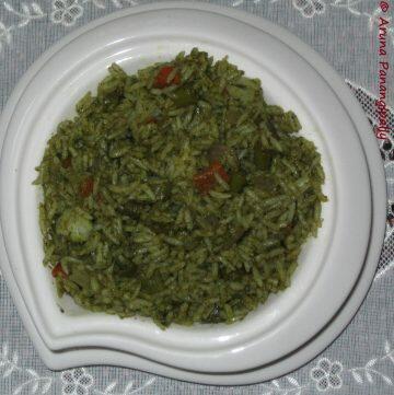 Palak Pulao or Spinach Pulao