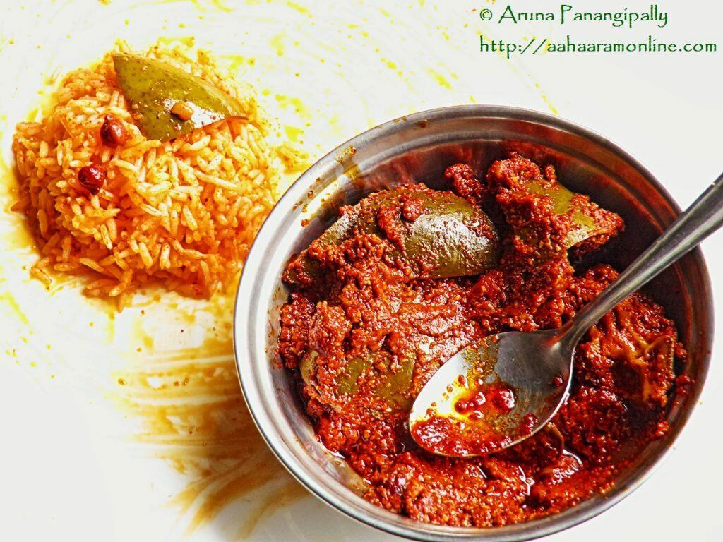 Avakai or Avakaya - Andhra Raw Mango and Mustard Powder Pickle