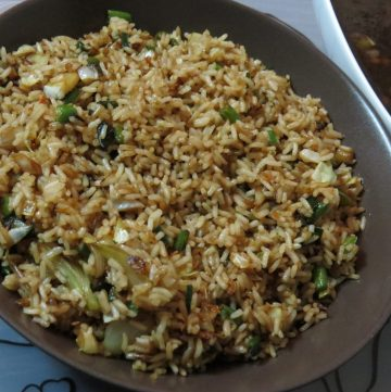 Vegetable Fried Rice is a popular Indo-Chinese delicacy