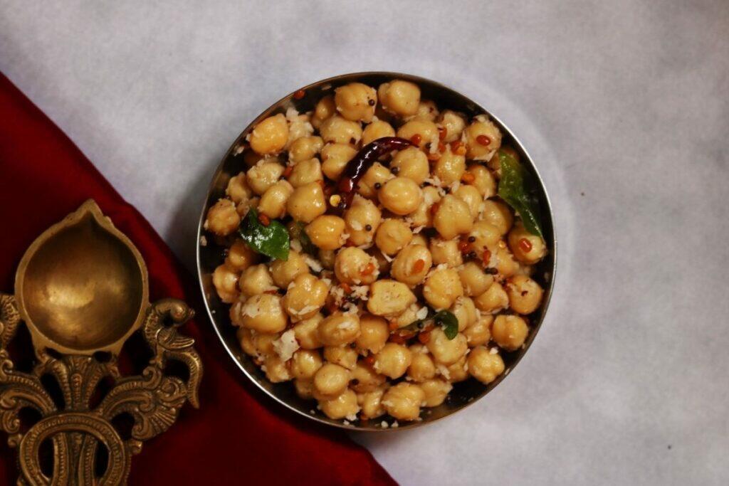 A Bowl of Chickpeas Sundal or Guggillu