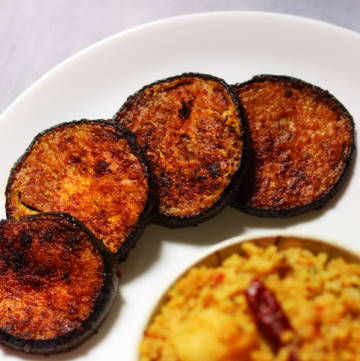 Begun Bhaja | Bengali Pan-fried Brinjal Slices