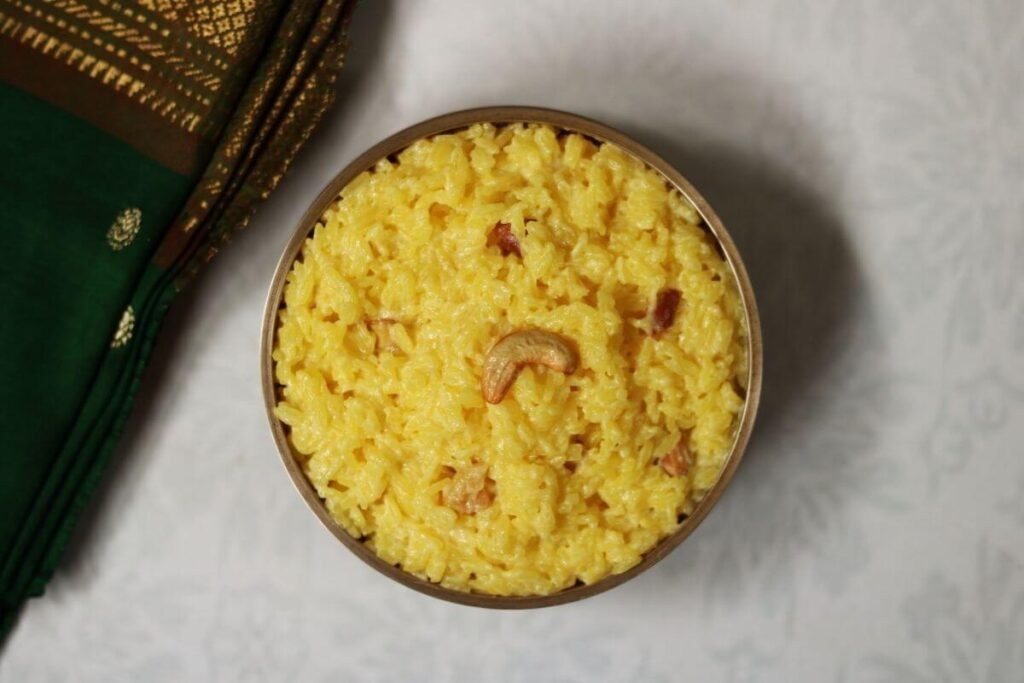 A bowl of Ksheerannam, the creamy saffron flavoured rice pudding from Andhra Pradesh