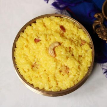 A bowl of Ksheerannam; the creamy, saffron-flavoured rice kheer from Andhra Pradesh