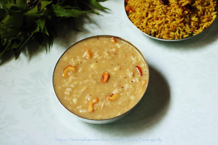 Andhra Rice Jaggery Kheer | Bellam Paramannam