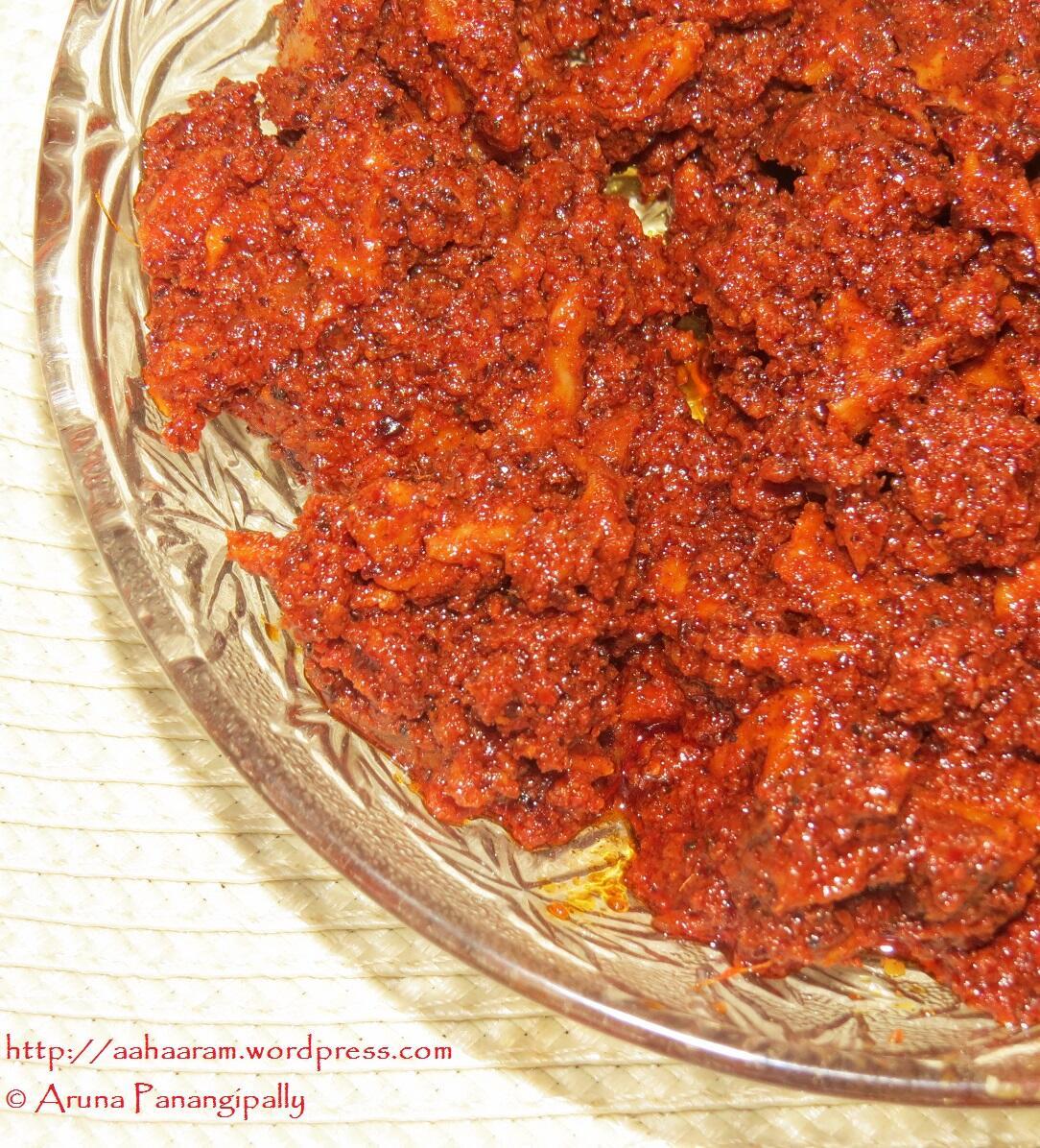 Magai is an Andhra Mango Pickle made with sun-dried mango pieces, roasted fenugreek powder (methi powder), and chilli powder.