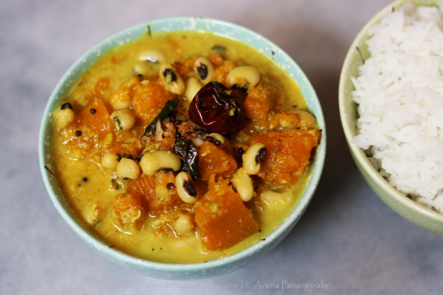 Mathanga Erissery is a classic dish from Kerala. Made with Pumpkin, Black-eyed peas and coconut, this vegan dish is savoured with rice
