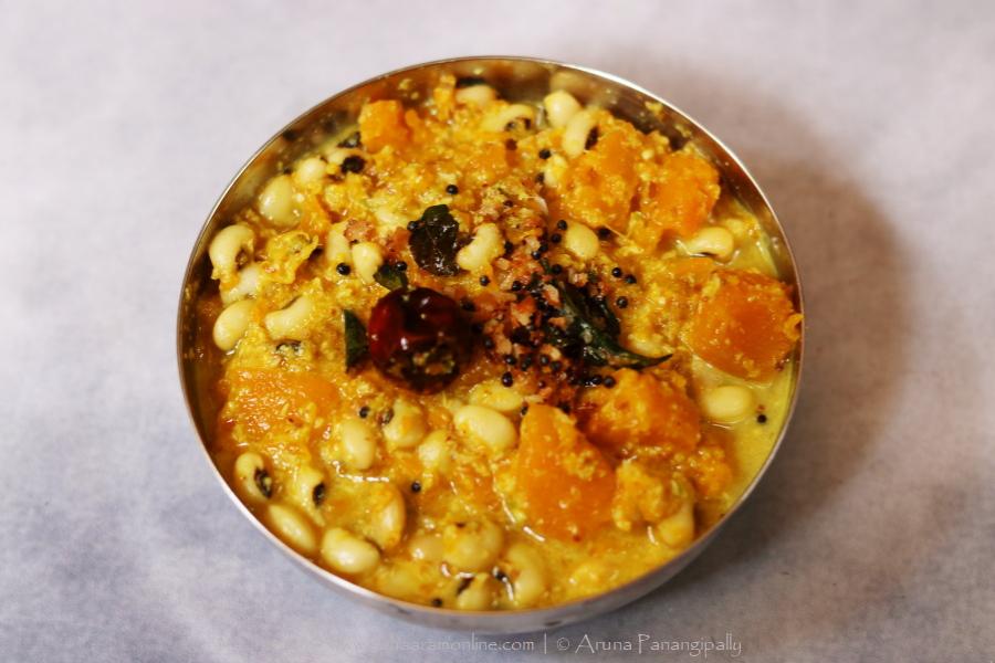 Mathanga Erissery (Pumpkin and Black-eyed Peas in a Coconut Gravy): A Gluten Free, No Onion, No Garlic Recipe