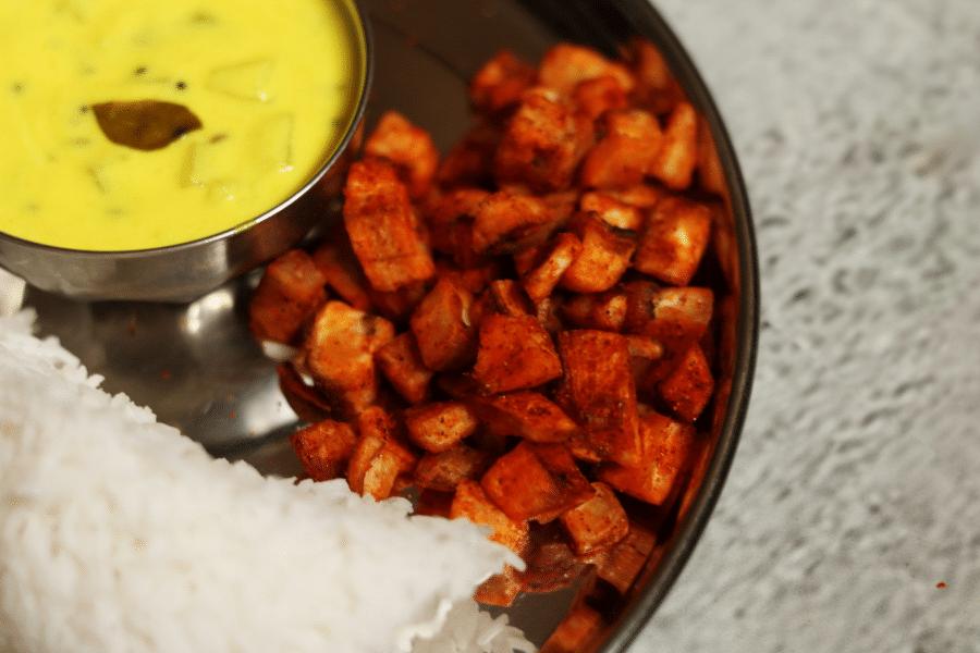 Vazhakkai Varuval is a crunchy, spicy Plantain Stir Fry
