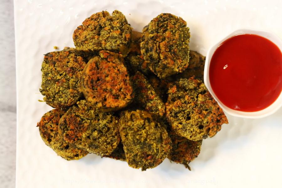 Shallow Fried Kothimbir Vadi made with fresh coriander and besan (gram flour)