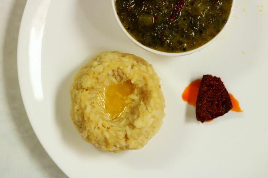 A portion of Mudda Pappu Annam, plain dal and rice, with Avakai and some Thotakura Pulusu