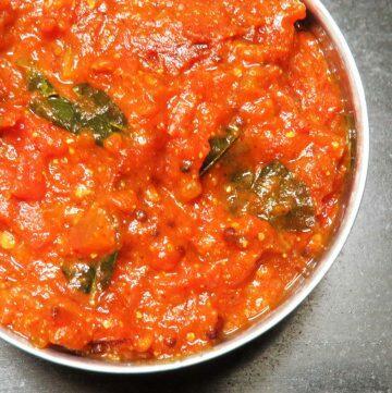 Andhra Style Tomato Pachadi, Tomato Thakkali, Tomato Chutney
