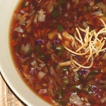Vegetable or Vegetarian Manchow Soup - Indo-Chinese Recipe