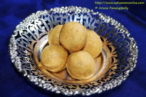 Pesara Sunni is a laddu made with Moong Dal in Andhra Pradesh