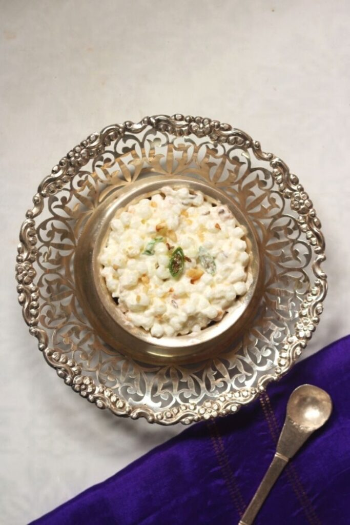 A bowl of Dahi Sabudana, sago in yogurt, is a fast recipe