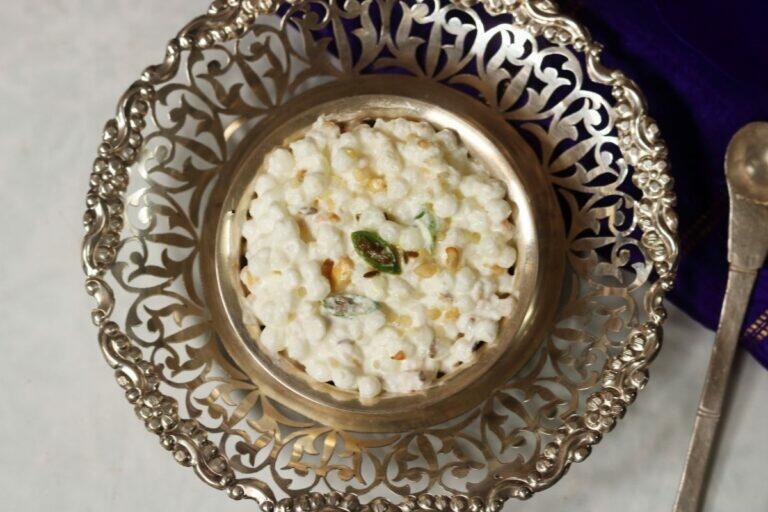 A Bowl of Dahi Sabudana or Sago in Yogurt. This easy to make, gluten-free dish is a popular fasting food or Upvas ka Khana in Maharashtra.