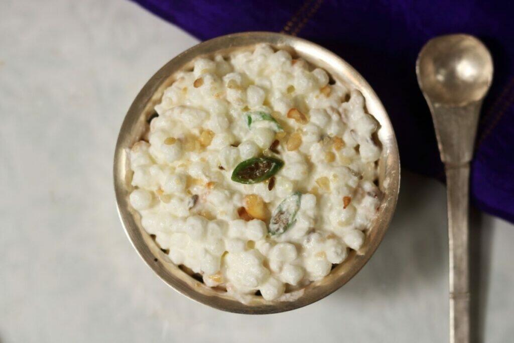 A bowl of gluten-free Sago in Yogurt called Dahi Sabudana in India