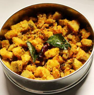 Aratikaya Menthi Podi Kura   Raw Banana Curry with Fenugreek Spice Powder