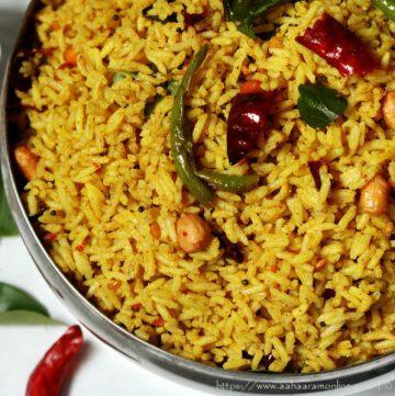 Andhra Nuvvula Chintapandu Pulihora   Tamarind Rice with Sesame Powder