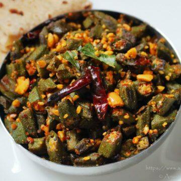 Maharashtrian Bhindi Fry with Peanuts served with roti