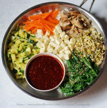Vegetarian Bibimbap: Korean Rice with Vegetables Flavoured with Gochujang