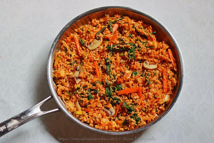 Vegetarian Bibimbap: Mixed and Ready to Eat
