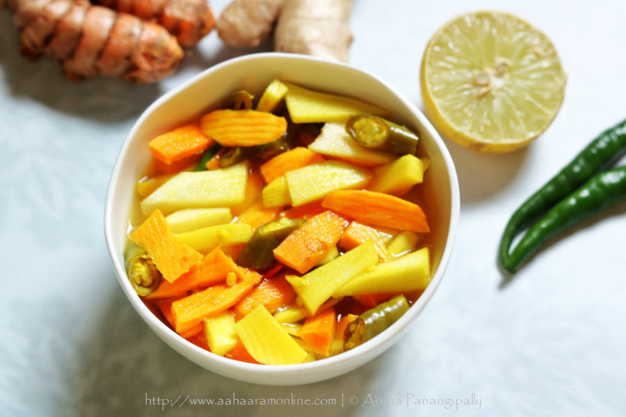 Slices of Fresh Turmeric Root and Mango Ginger Pickled in Lemon Juice