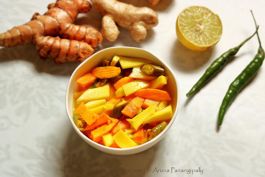 Turmeric  Root and Mango Ginger Pickle in Lemon Juice