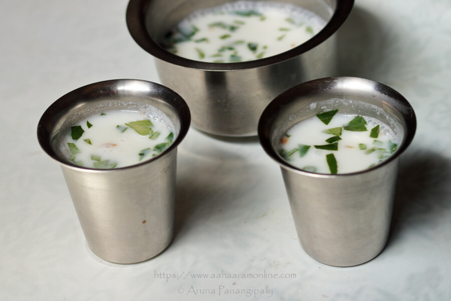 Andhra Majjiga | Buttermilk with Curry Leaves, Ginger and Green Chilli