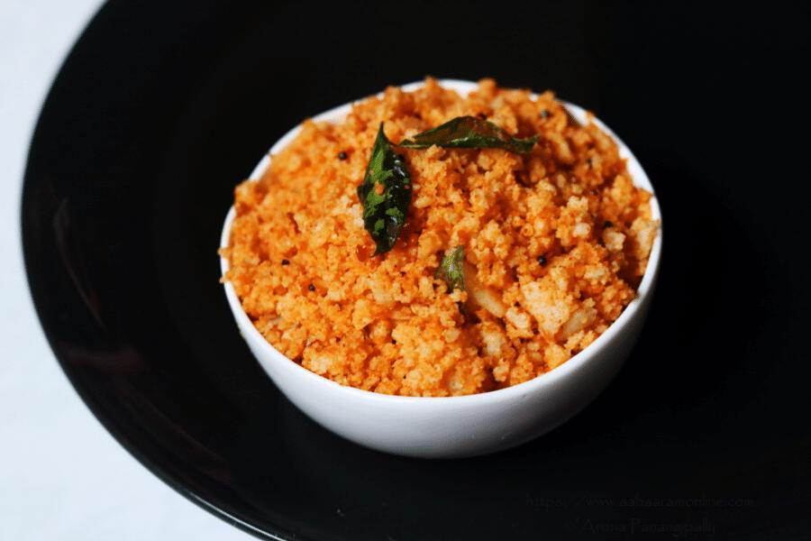 Idli Upma Spiced with Molaga Podi (Kharam Podi | Idli Chutney Powder)