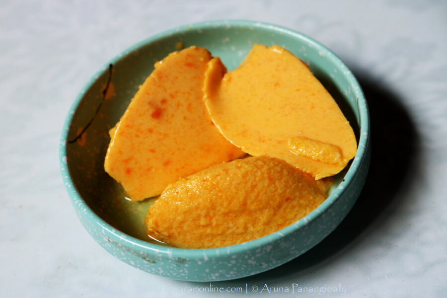 Mango Bhapa Doi | Steamed Mango Flavoured Yogurt
