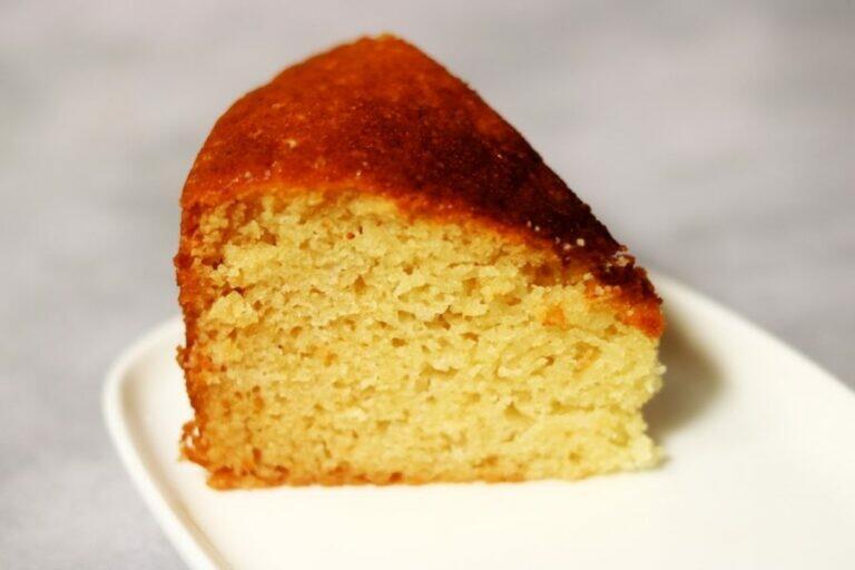 A slice of an eggless Gulab Jamun Mix Cake