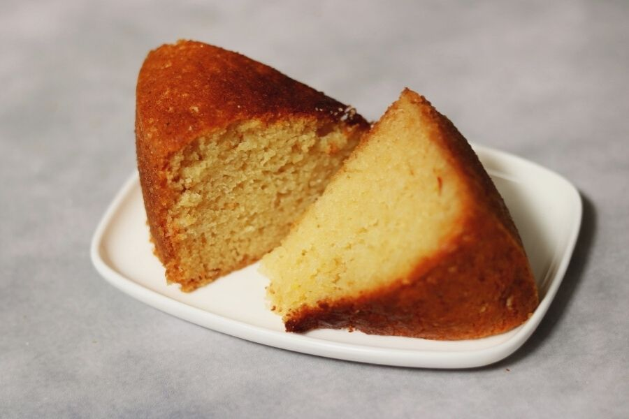 Two slices of the Gulab Jamun Mix Cake