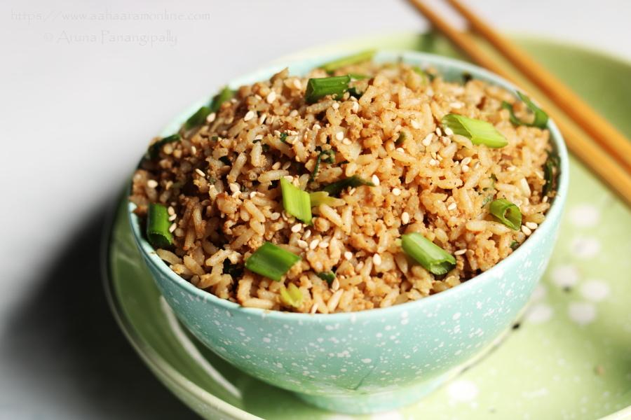 Korean Egg Fried Rice (or Gyeran Bokkeumbap as it is called in Hangul) is a simple and hearty dish, often eaten as breakfast.