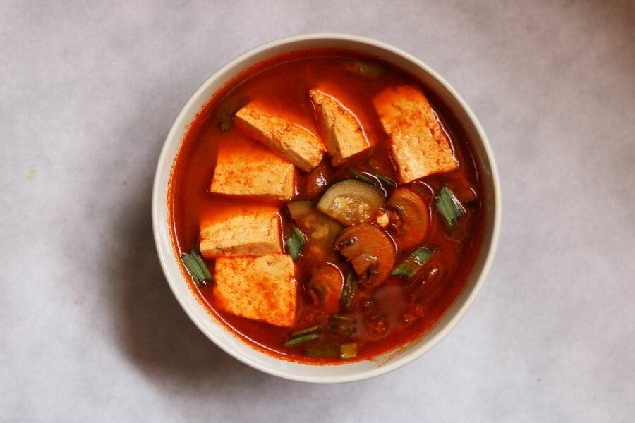 A Bowl of Sundubu Jjigae, the warming Korean Soft Tofu Stew or Soup