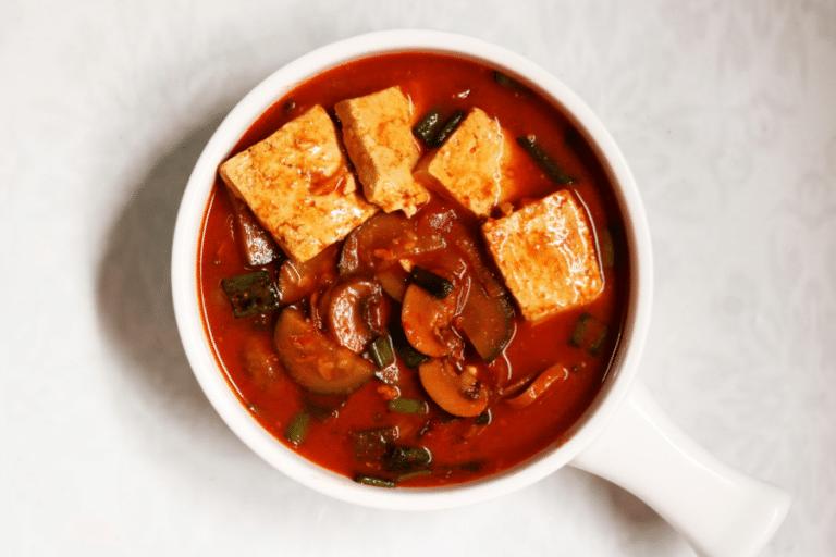 A bowl of vegetarian Sundubu Jiggae, the Korean Soft Tofu Stew