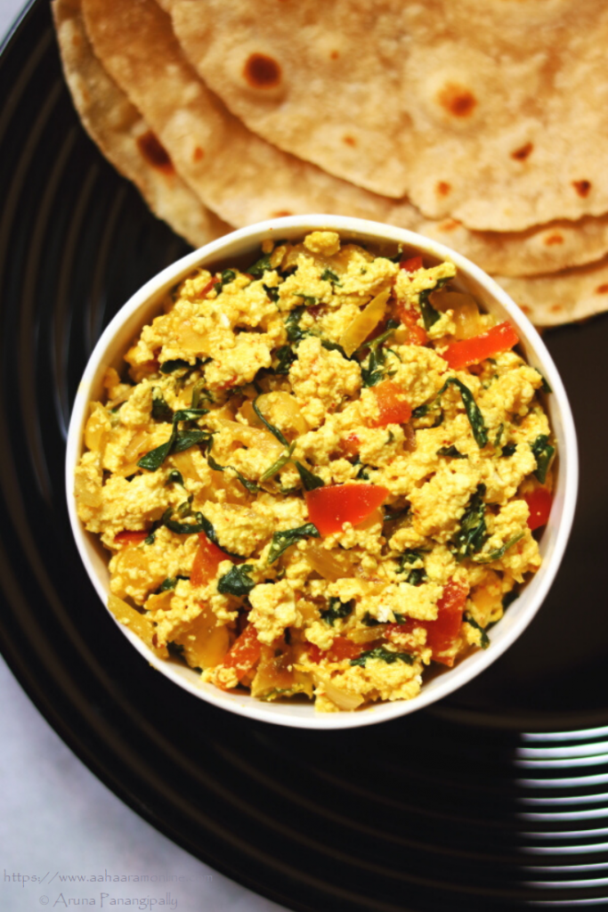 Methi Paneer Bhurji is Scrambled Cottage Cheese with Fresh Fenugreek Leaves. This is also a low potassium recipe.