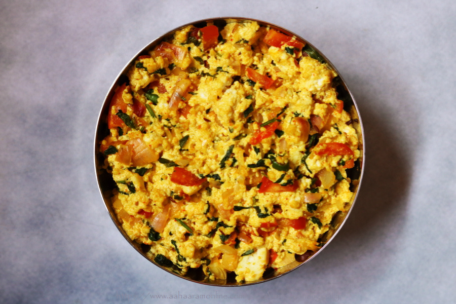 Methi Paneer Bhurji is scrambled Indian cottage cheese with fenugreek. It is a Low Potassium, High Protein recipe suitable for Renal Diet.