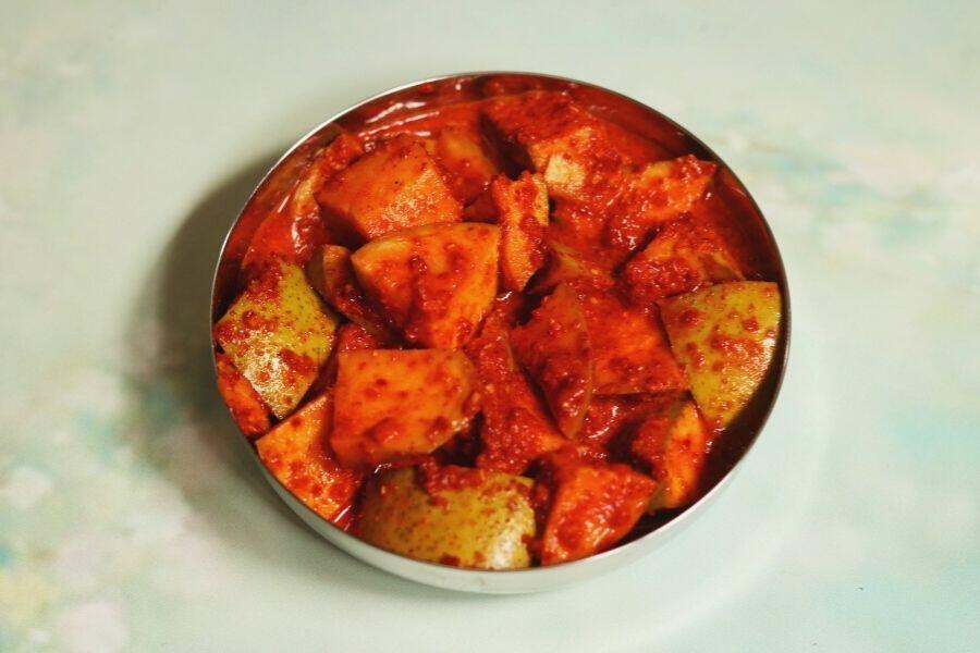 Paniwala Aam ka Achar is a spicy, no oil, water-based mango pickle