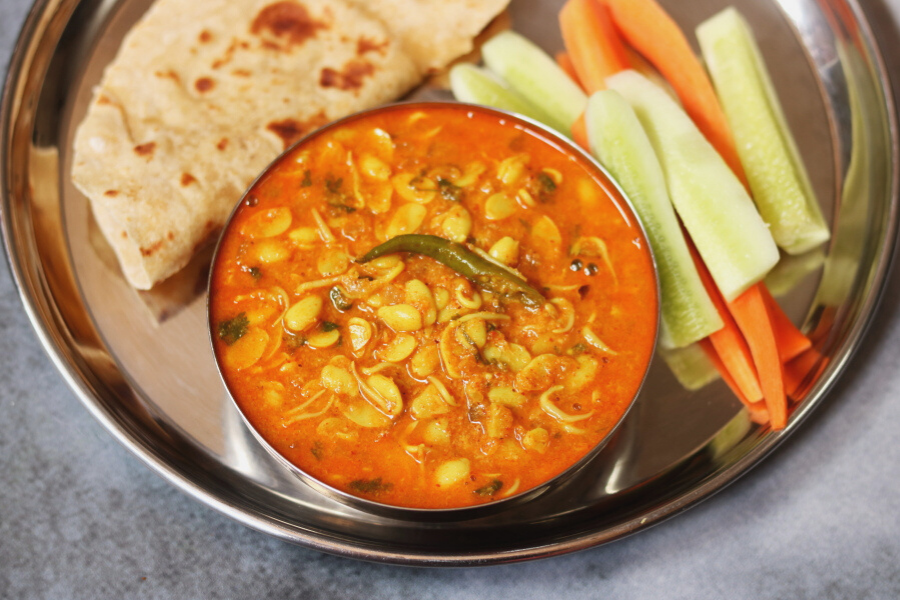 Valache Birdhe | Valachi Usal: A curry made with sprouted field beans  by the CKP community in Maharashtra