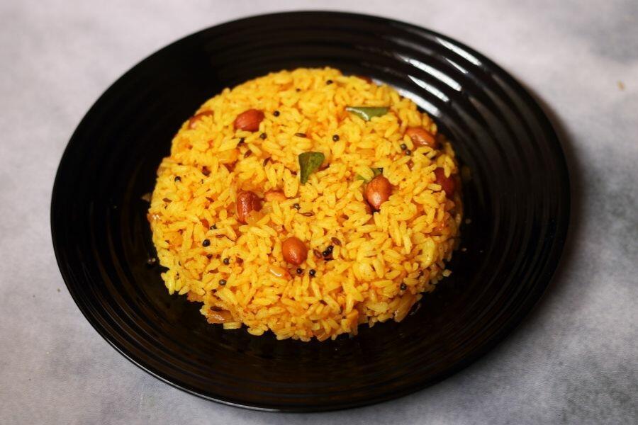 A Plate of Phodnicha Bhaat, the Seasoned Fried Rice from Maharashtra