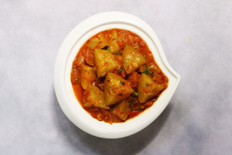 A bowl of Tinde ki Sabzi or Punjabi Tinda Masala, a delicious curry with Apple Gourd