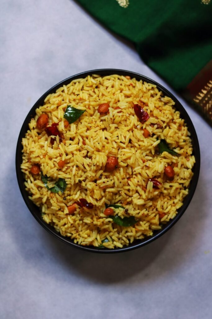 A Bowl of Ava Pettina Pulihora: The Andhra Tamarind Rice Flavoured with Mustard Paste