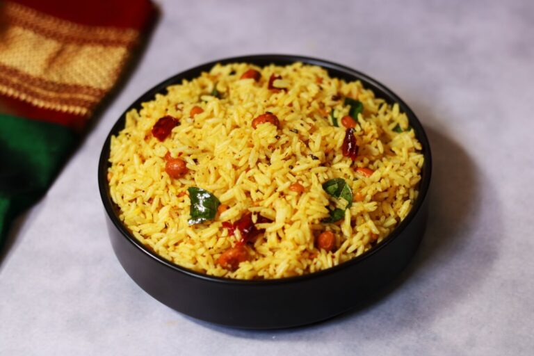 A Bowl of Ava Pettina Pulihora or the Andhra Tamarind Rice with Mustard Flavour
