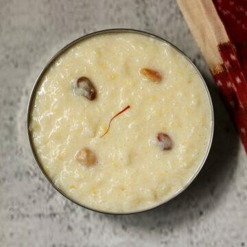 Kalkandu Pongal, also called Kalkandu Sadam, is a delicious, creamy and rich dessert made with rice, moong dal, milk, and rock sugar (sugar candy) in Tamil Nadu