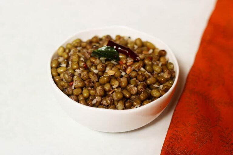 A Bowl of Pachai Payaru Sundal or Green Moong Sundal that is called Pesala Guggillu in Telugu